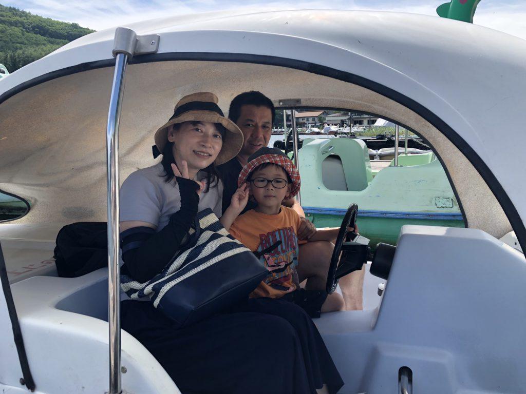 木崎湖モダンボートのペダルボートご利用いただきました!