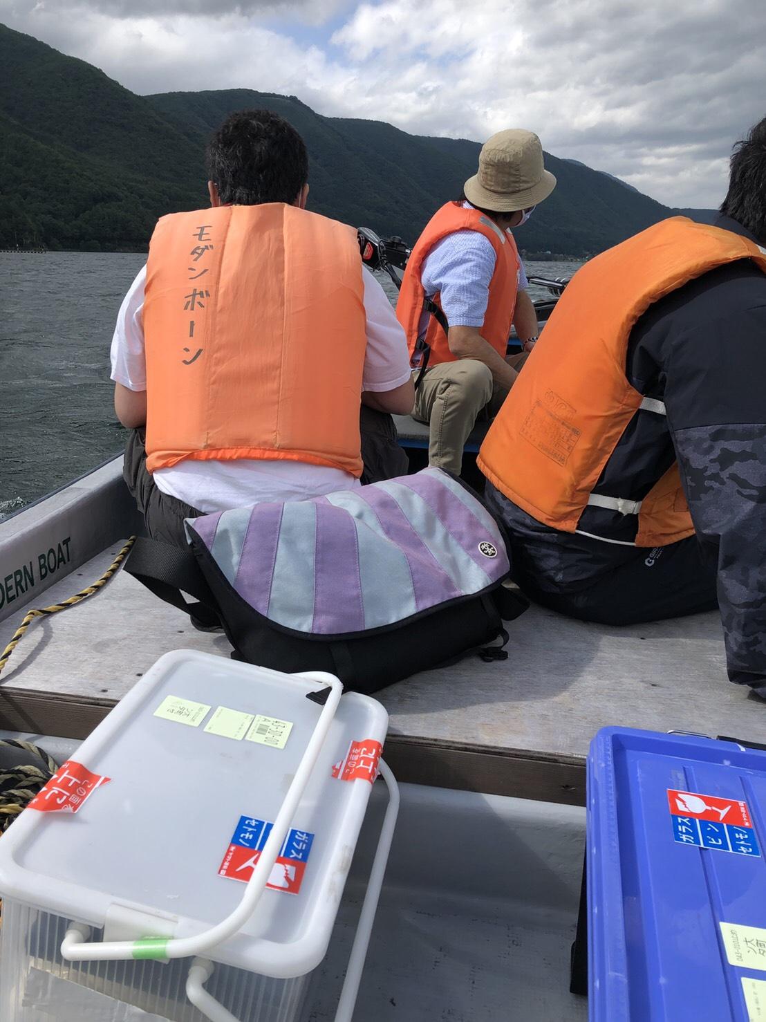 学校の水質調査実習で当店のボートをご利用いただきました!